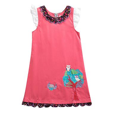 저렴한 여아 의류-아동 여아 베이직 시누아즈리 부엉이 플로럴 새 부족 자수 장식 짧은 소매 무릎길이 드레스 블러슁 핑크