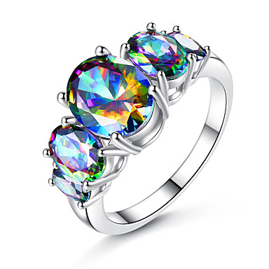 cheap Customized Jewelry-Personalized Customized Clear Multicolor Cubic Zirconia Ring Zircon Classic Engraved Gift Promise Festival Square 1pcs Rainbow / Laser Engraving