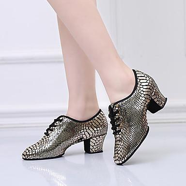billige Ballroom-sko og moderne dansesko-Dame Moderne sko Semsket lær Snøring Høye hæler Tykk hæl Dansesko Gull