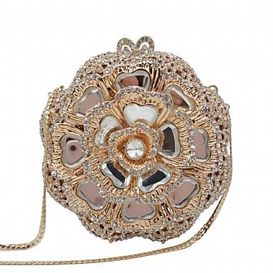 ieftine Genți-Pentru femei Detalii Cristal / Decupat Aliaj Geantă Seară Culoare solidă Auriu / Auriu Deschis