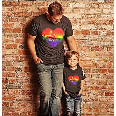 levne Rodinné sady oblečení-Tati a mě Aktivní Základní Duhová Grafika Písmeno Krátký rukáv Standardní Košilky Černá