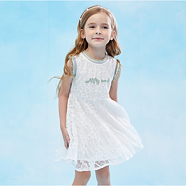 cheap Girls' Dresses-Kids Girls' Solid Colored Dress White