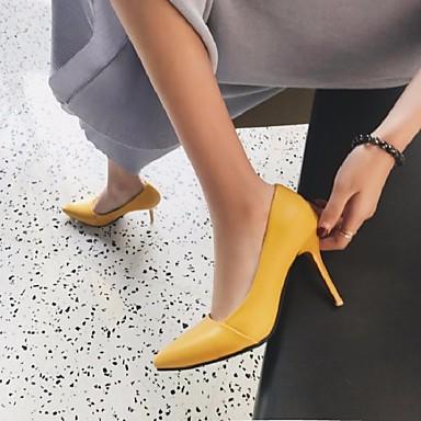 ราคาถูก ของมาใหม่-สำหรับผู้หญิง รองเท้าส้นสูง ฤดูร้อน ส้น Stiletto Pointed Toe ทุกวัน PU สีดำ / สีเหลือง / สีชมพู