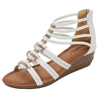 cheap Women's Sandals-Women's Sandals Summer Wedge Heel Open Toe Roman Shoes Daily PU White / Black / Pink