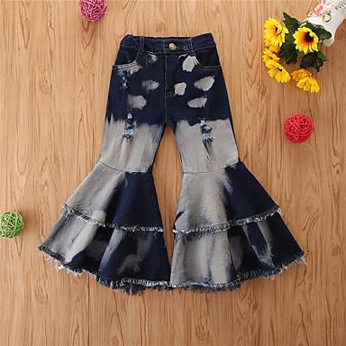 billiga Flickbyxor och leggings-Småbarn Flickor Grundläggande Tryck Jeans Dammig blå