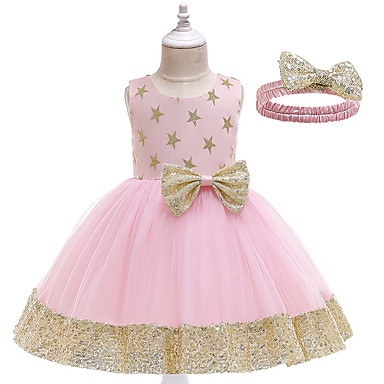 cheap Baby & Kids-Toddler Girls' Active Cute Galaxy Sequins Bow Sleeveless Knee-length Dress Blushing Pink