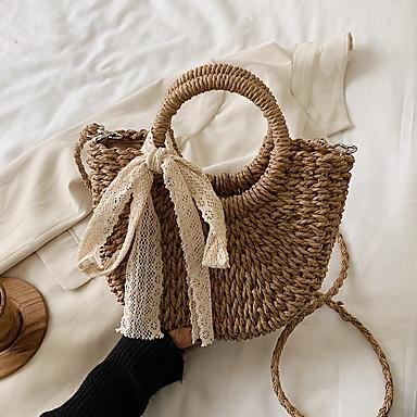 levne Tašky-Dámské Duté Straw Taška s horní rukojeti Pevná barva Khaki / Béžová