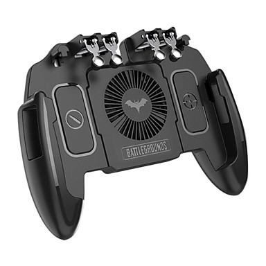 cheap Smartphone Game Accessories-PUBG Mobile Joystick Controller Turnover Button Gamepad for PUBG iOS Android Six 6 Finger Operating Gamepad With Cooling Fan