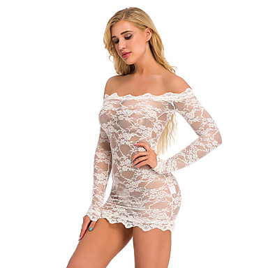 رخيصةأون لانجري نسائي-نسائي بدلات ملابس نوم دانتيل / شبكة, لون سادة نبيذ أبيض أسود S M L