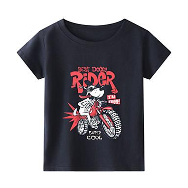 cheap Boys' Tops-Kids Toddler Boys' Chinoiserie Black & White Fantastic Beasts Animal Print Short Sleeve Tee White