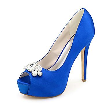 ieftine Pantofi de Mireasă-Pentru femei pantofi de nunta Primăvară / Vară Toc Stilat Pantofi vârf deschis minimalism Nuntă Party & Seară Piatră Semiprețioasă Mată Satin Alb / Negru / Mov