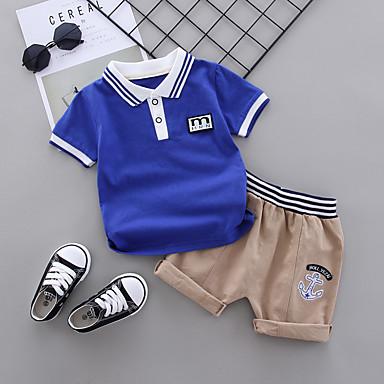 cheap Baby & Toddler Boy-Baby Boys' Casual Basic Blue & White Striped Patchwork Short Sleeve Regular Regular Clothing Set White