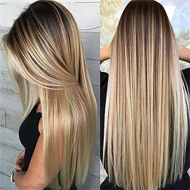 cheap Wigs & Hair Pieces-Synthetic Wig Matte kinky Straight Middle Part Wig Blonde Long Light golden Synthetic Hair 65 inch Women's Highlighted / Balayage Hair Dark Roots Middle Part Blonde Brown