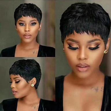 halpa Kauneus ja hiukset-Synteettiset peruukit Suora Lyhyt Bob Peruukki Lyhyt Musta Synteettiset hiukset 6 inch Naisten Naisten Helppo pukeutuminen Tyylikäs Musta