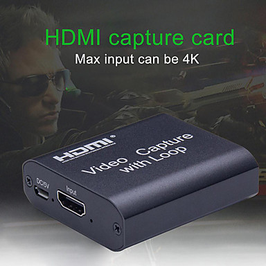 cheap Cables & Adapters-4K HD Video Capture Card HDMI Video USB2.0 Capture With Loop Streaming Live Broadcasts Video Recording for high definition acquisition