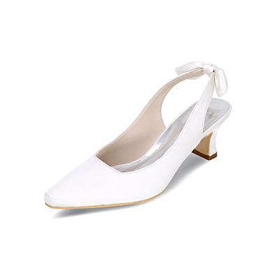 hesapli Kadın Düğün Ayakkabıları-Kadın's Topuklular / Düğün Ayakkabıları Bahar / Yaz Blok Topuk Dörtgen Uçlu Minimalizm Düğün Parti ve Gece Saten Çiçek Solid Saten Beyaz / Siyah / Mor