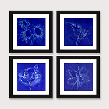 cheap Framed Arts-Framed Art Print Framed Set 4 Blue Abstract Flower PS Illustration Wall Art Ready To Hang