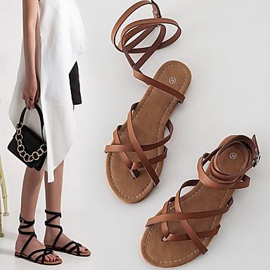 ราคาถูก 2020 Trends-สำหรับผู้หญิง รองเท้าแตะ รองเท้าแบน ฤดูร้อน ส้นแบน เปิดนิ้ว รองเท้าโรมัน ทุกวัน PU สีดำ / สีน้ำตาล