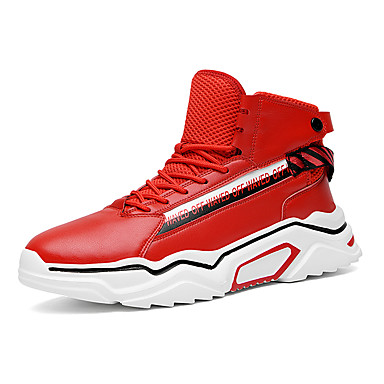Men's Microfiber Fall / Spring & Summer Sneakers Running Shoes / Walking Shoes Breathable Red / White / Black