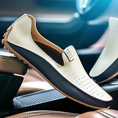 זול נעלי בד ומוקסינים לגברים-בגדי ריקוד גברים קיץ שטוחות / נוחות / מעצב בָּחוּץ נעליים ללא שרוכים / נעלי סירה PU ללא החלקה צהוב / כחול