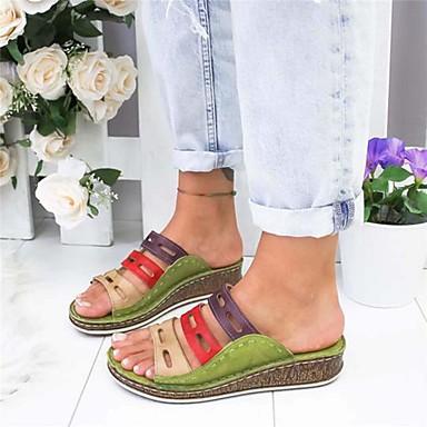 cheap Women's Sandals-Women's Sandals Wedge Sandals Bunion Sandals Wedge Heel Open Toe Casual Daily Color Block PU Summer White / Blue / Green