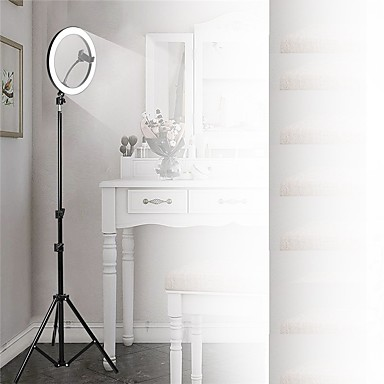 cheap Camera & Photo-Photography Led Self Timer Ring Light 26cm Metal Dimmable Photography / Mobile Phone Ring Light With 210cm Tripod For Makeup Video Studio