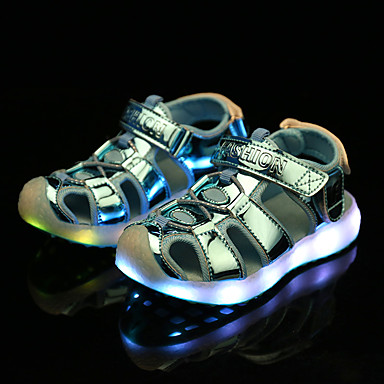 cheap Kids' Sandals-Boys' / Girls' LED Shoes / Luminous Shoe / USB Charging PU Sandals LED Shoes Little Kids(4-7ys) / Big Kids(7years +) Walking Shoes LED Pink / Gold / Blue Spring / Summer / Rubber