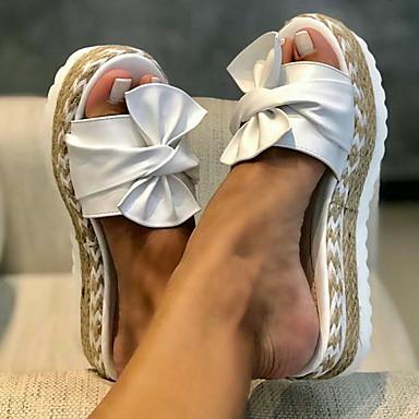 ราคาถูก ของมาใหม่-สำหรับผู้หญิง รองเท้าแตะ ฤดูร้อน ส้นแบน เปิดนิ้ว ทุกวัน PU ขาว / สีดำ / สีเหลือง