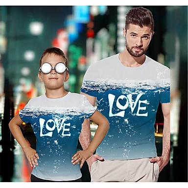 economico Abbigliamento combinato per famiglie-Papà e io Attivo Essenziale Pop art Alfabetico Manica corta Standard T-shirt Blu
