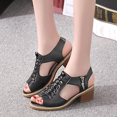 hesapli 2020 Trends-Kadın's Sandaletler 2020 İlkbahar yaz Minik Topuk Sivri Uçlu Minimalizm Roman Ayakkabı Günlük PU Yürüyüş Beyaz / Siyah / Bej
