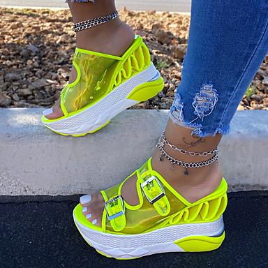 cheap Women's Sandals-Women's Sandals Summer Wedge Heel Open Toe Daily PU Green / Clear / Transparent / PVC