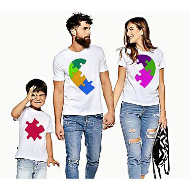 economico Abbigliamento combinato per famiglie-Sguardo di famiglia Attivo Essenziale Monocolore Pop art Con stampe Manica corta Standard T-shirt Bianco