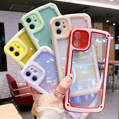 cheap iPhone Cases-iPhone11Pro Max Candy Color Transparent Phone Case XS Max Shockproof Silicone Bar Frame 6/7 / 8Plus / SE2020 Protective Case