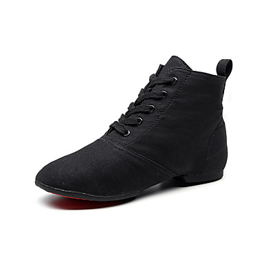 cheap Jazz Shoes-Men's / Women's Ballet Shoes / Jazz Shoes / Dance Sneakers Canvas Lace-up Flat / Sneaker Flat Heel Dance Shoes Black / Red / Brown