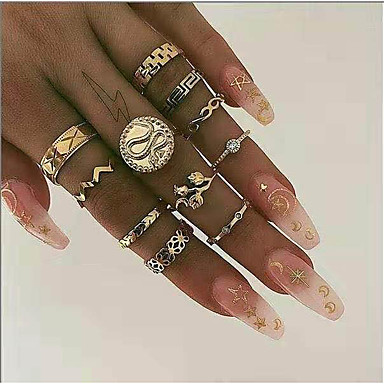 cheap Rings-Women's Ring Settings Midi Rings 10pcs 1 set Gold Rhinestone Alloy Round Statement Stylish Simple Street Jewelry Snake