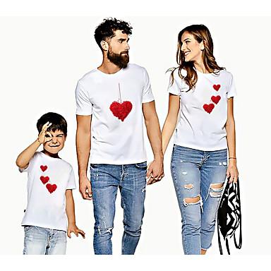levne Rodinné sady oblečení-Rodinný vzhled Aktivní Základní Grafika Tisk Krátký rukáv Standardní Košilky Bílá