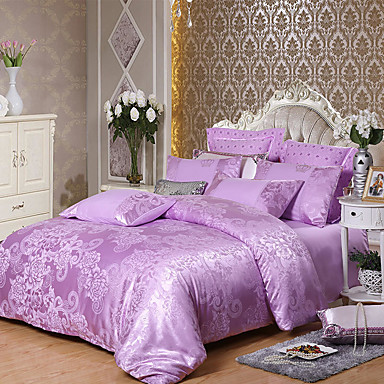 cheap Duvet Covers-European-style Jacquard Satin four-piece quilt cover 1.5 m 1.8 m 2 m extra large single double bedding
