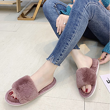 ieftine Noutăți-Pentru femei Papuci & Flip-flops Papuci Fuzzy Toamnă / Iarnă Toc Drept Vârf deschis Zilnic Imitație Blană Marron / Negru / Gri