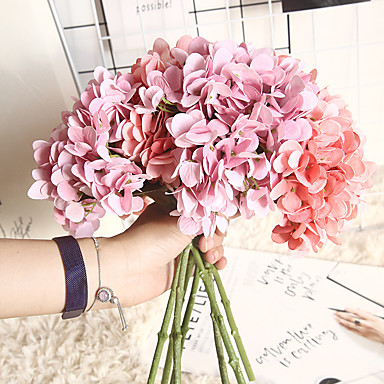 cheap Artificial Flowers & Vases-1 Piece Artificial Hydrangea Flower Arrangement DIY Wedding Party Desk Home Decoration 35cm