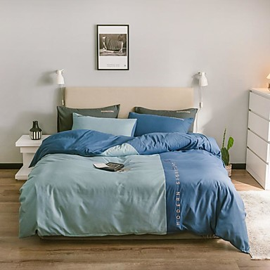 cheap Duvet Covers-Four-piece nordic-style four-piece single-double washing cotton bed linen dormitory