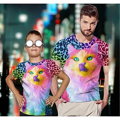 economico Abbigliamento combinato per famiglie-2 pezzi Papà e io Attivo Essenziale Leopardata Pop art Animali Manica corta Standard T-shirt Arcobaleno