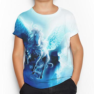 cheap Boys' Clothing-Kids Boys' Active Basic Horse 3D Animal Short Sleeve Tee Blue