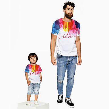 رخيصةأون مجموعات ملابس العائلة-كنزة مطبوعة كم قصير قوس قزح / الرسم / أحرف أبي وأنا