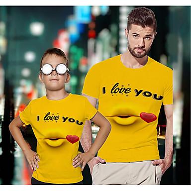 levne Rodinné sady oblečení-Tati a mě Aktivní Základní Grafika Písmeno Krátký rukáv Standardní Košilky Žlutá