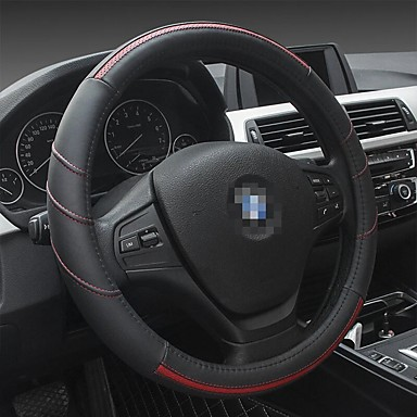 cheap Steering Wheel Covers-38CM Car Steering Wheel Covers Four Seasons Universal Leather Car Cover