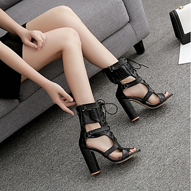 cheap Women's Shoes-Women's Sandals Summer Block Heel Open Toe Roman Shoes Daily PU Black