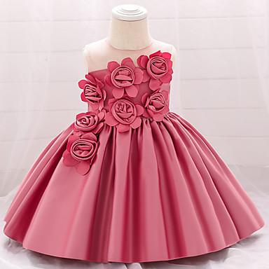 cheap Baby & Toddler Girl-Baby Girls' Basic Jacquard Solid Colored Bow Mesh Sleeveless Knee-length Dress Wine