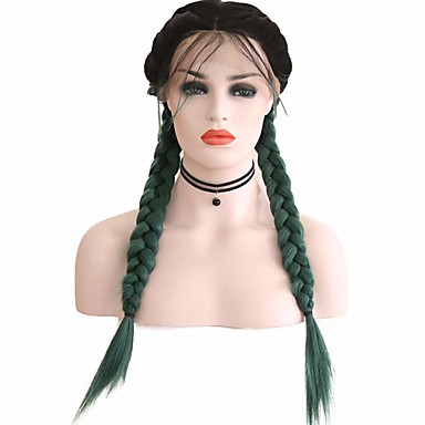 cheap Synthetic Lace Wigs-Synthetic Lace Front Wig Box Braids Middle Part with Baby Hair Lace Front Wig Ombre Long Ombre Green Synthetic Hair 18-26 inch Women's Soft Adjustable Party Green Ombre