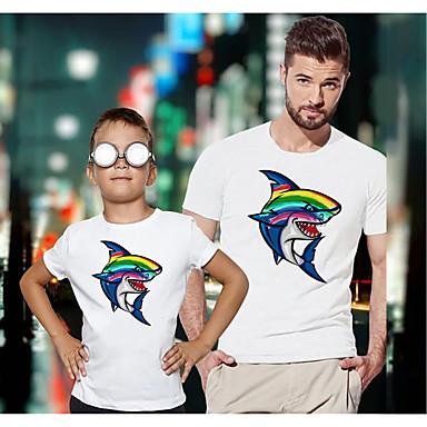 저렴한 가족 의류 세트-아빠와 나와 활동적 베이직 무지개 그래픽 동물 짧은 소매 보통 티셔츠 화이트