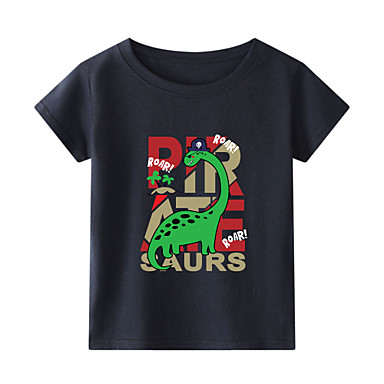 cheap Boys' Tops-Kids Toddler Boys' Chinoiserie Fantastic Beasts Animal Print Short Sleeve Tee White